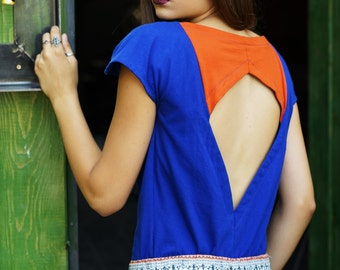 Women T-shirt, Cotton  Shirt, Women top, Blue Orange Shirt; Women Top; Open Back Shirt;