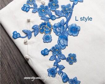 1pc Blue Flower Appliques Embroidery Patck Trim Vintage Shabby Chic Venise Lace Sewing Patch Trim for Costume Design