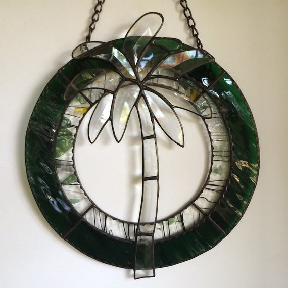 Palm Tree Inspirational Stained Glass Panel Beveled Made in Hawaii Deesigns by Harris Free Gift Wrap