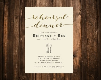 Ivory & Gold Rehearsal Dinner Invitation; Printable OR set of 10