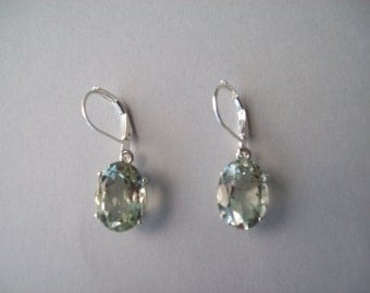 PERFECT SIZE - Genuine Prasiolite Earrings in 925 Sterling Silver