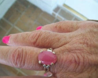 Pink Agate Ring in Sterling Silver - Size 7