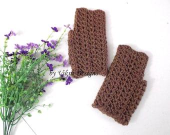 Crochet Fingerless Gloves, Cafe Latte Women Gloves, Fingerless Mittens by Vikni Designs