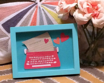 You're Just My Type Vintage Typewriter Shadow Box Collage Framed Art 6x8 // Recycled Valentine; Red, Pink & Blue; Great Gift for Her