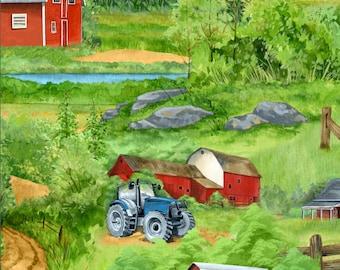 Green Mountain Farm Scene, Tractors & Barns, Wilmington Prints (By 1/2 yd)