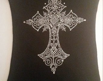 Rhinestone cross tank
