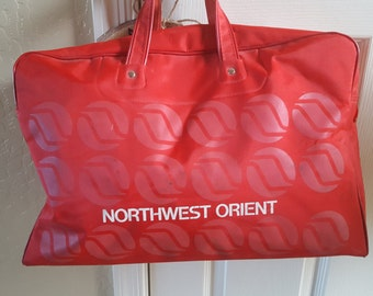 Vintage Northwest Orient airline carry on tote, British Travel Bureau, Union Jack, red vinyl