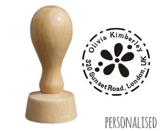 Custom Address Wooden Stamp - FLOWER / packaging stamp wood craft stamp