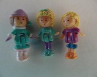 "Vintage Polly Pocket Dolls, Three 1"" Dolls"