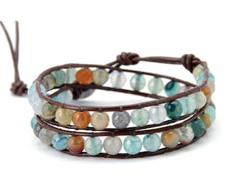 2 wrap bracelet, 2x wrap leather bracelet, bohemian bracelet,wrap bracelet, leather wrap bracelet, beaded wrap bracelet, Artisan Boho Chic