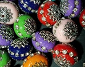 Handmade Indonesia Beads, Round, Mixed Color, 15x14mm, Hole: 2mm  102