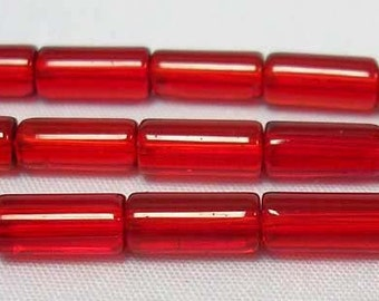 "Glass Bead Strand, Tube, Red, about 10mm long, 4mm thick, about 32 pcs/strand, 12"" #070"