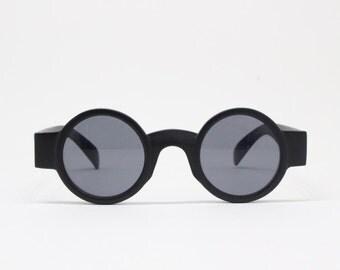 90s sunglasses. NWOT. Original vintage black matt round, pure fashion glasses. Eyewear, steampunk.