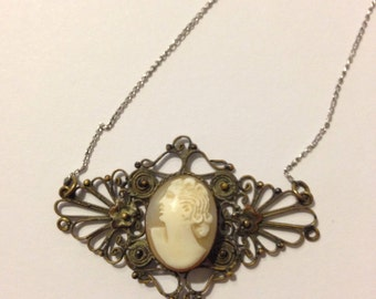 Antique, Victorian carved shell cameo and filigree necklace