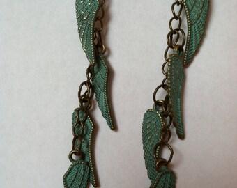 turquoise metallic winged dangles