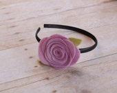 Lavender Rose on plastic headband, girls headband, flower headband, girls accessories gift, birthday gifts, adult headband