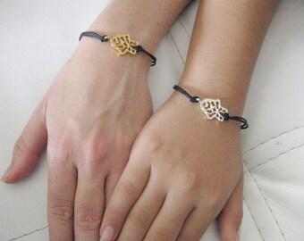 Mother Daughter bracelet, Hamsa bracelet, Black Cord bracelet, Hand bracelet,  String bracelet, Rope Bracelet, Friendship bracelet set,