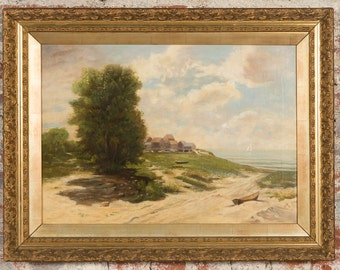 19th century Sea Shore landscape -Oil Painting on Canvas