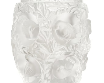 Lalique Paris -Vintage Art Glass Vase with Birds Motif