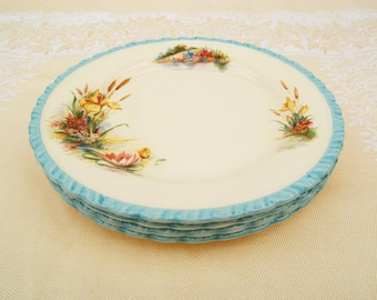 1950s Tea Plates with waterside flowers, New Hall Hanley England, Blue and cream small plates x 4