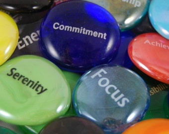 Imprinted Colored Glass Word Stones - Single Words