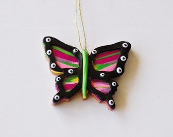 Butterfly Ornament with Stripes and Spots