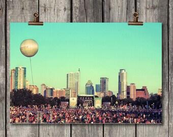 ACL Balloon - ACL Music Festival - Scenic Cityscape - Zilker Park - Austin, TX - Fine Art Print - Canvas Galley Wrap - Metal Print
