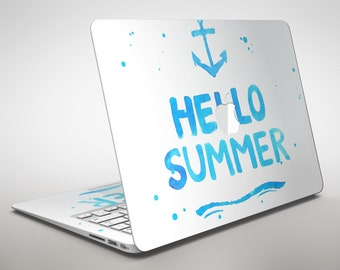 Hello Summer Anchor Watercolor Blue V1 - Apple MacBook Air or Pro Skin Decal Kit (All Versions Available)