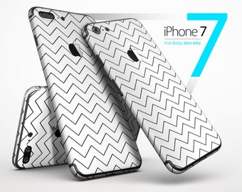 Thin Slate Black Zig Zags - Skin Kit for the iPhone 7 or 7 Plus, 6 or 6s Plus, 5/5s/SE, 5c & More