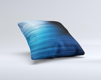 The Dark Blue Streaks ink-Fuzed Decorative Throw Pillow