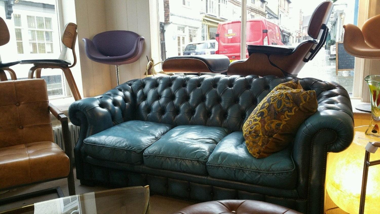 Vintage Geniun Leather Blue Turquoise 3 Seats