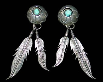 American Indian Old Pawn Navajo Feather Sterling Silver and Turquoise EARRINGS
