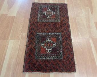 Afghan Oriental Rug 1' 6 x 2' 10 Soft Red Baluch