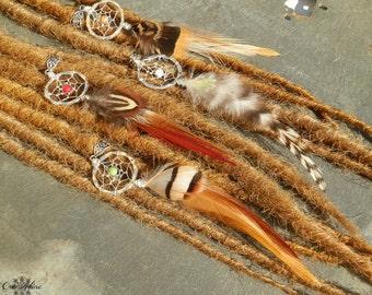 Pearl for Dreadlocks catcher dream Hippie / Dread Dreamcatcher Native American jewelry / feathers natural / fine Pierre