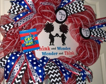 Dr. Seuss/Thing 1 & Thing 2/Think and Wonder/Red White Striped Mesh Wreath