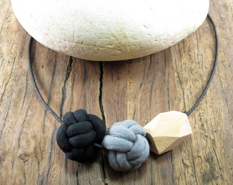 Nautical knot necklace, Fabric cord knots with geometric wooden bead, Adjustable cotton cord necklace, Fabric jewelry, Wood necklace, Cotton