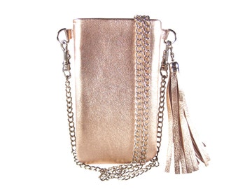 """Bodybag IPhone 7 case rosegold leather IPhone accessory leather phone case bag IPhone 6 plus bag Smartphone bag mobile bag """"Mia"""""""