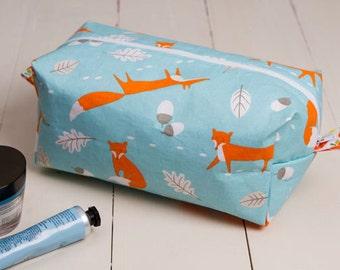Mr Fox box pouch, fox makeup bag, fox cosmetic pouch, fox makeup pouch, box pouch, fox travel pouch, thank you gift, teacher gift