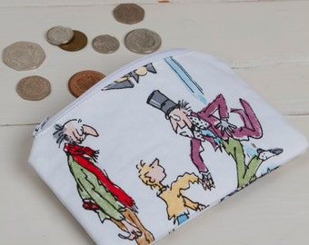 Charlie and The Chocolate Factory coin purse, Charlie and The Chocolate Factory zippered purse, Kids coin purse, Roald Dahl, stocking filler