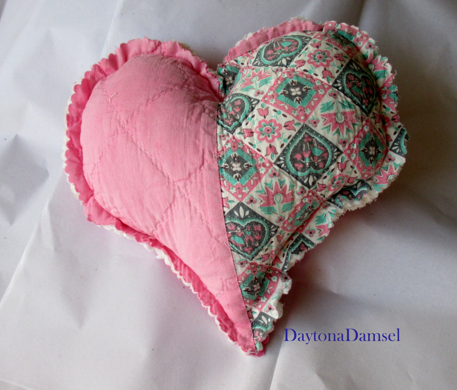 Pink Heart Pillow Hand Quilted Pillow Shabby By Daytonadamsel