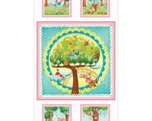 """Rainbow Woodland Panel 24"""" x 44""""~Children's Cotton Fabric by~Red Rooster~Fast Shipping CH245"""