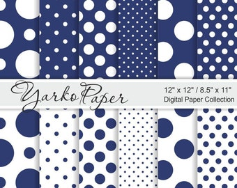 Blue And White Polka Dot Digital Paper Pack, Scrapbook Paper, Digital Background, 12 Sheets, Personal And Commercial Use - Instant Download