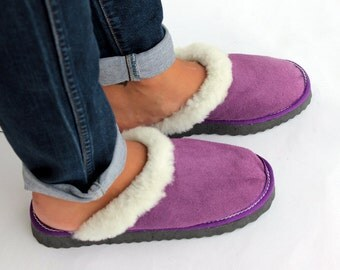 Women Slippers, Purple Fur Slippers, Womens Slippers, Handmade Slippers, Leather Slippers, House Slippers, Sheepskin Slippers, Warm Slippers
