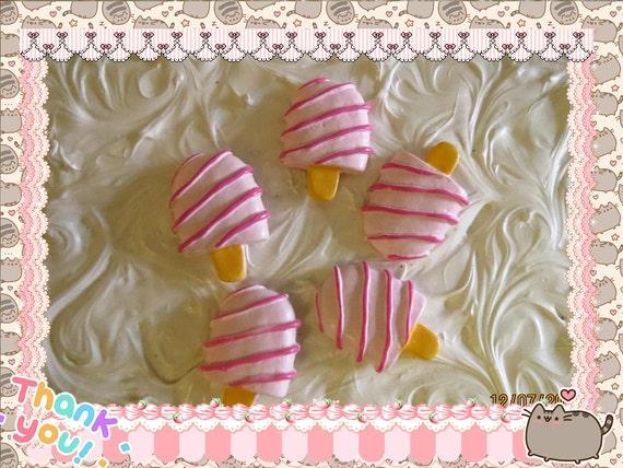 0: )- CABOCHON -( Rainbow Large Ice Cream Popsicles