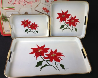 Set of 3 Vintage Lacquerware Nesting Holiday Serving Trays, White with Poinsettias, Original Box
