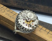 Steampunk ring silver -jeweled watch movement handcrafted artistic steam punk jewelry -The Victorian Magpie