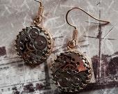 14k gold plated steampunk earrings.   watch movements. Handcrafted artistic jewelry -The Victorian Magpie