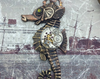 Seahorse Steampunk pocket watch necklace Handcrafted artistic jewelry -The Victorian Magpie