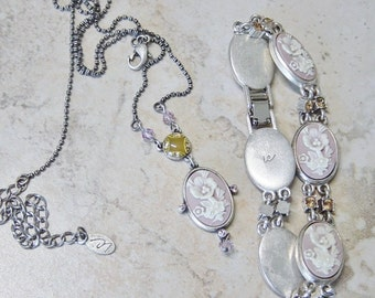 Cameo Silver Bracelet & Necklace Gift Set, LC Mauve Pastel PInk Cameos, Vintage, Pink Bracelet, Cameo Bracelet,Cameo Necklace,Cameo Gift Set