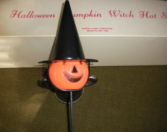 Set of Halloween Witch Hat Pumpkin Candy Containers with boxes